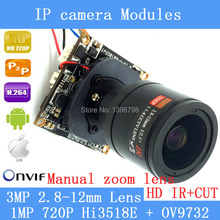 720P Network 1.0MP mini IP Camera Board ONVIF 2.8-12mm manual Varifocal Zoom Lens P2P Plug and Play with IR-CUT