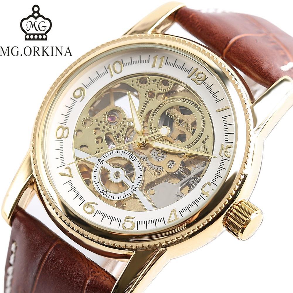 ORKINA Luxury Brand Mechanical Automatic Gear Shape Skeleton Business Wrist Watch Genuine Leather Band Strap Men