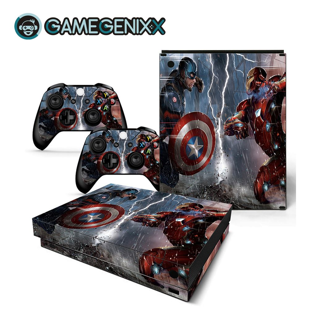 GAMEGENIXX Skin Sticker Protective Decal Removable Cover for Xbox One X Console and 2 Controllers - The Avengers(China)