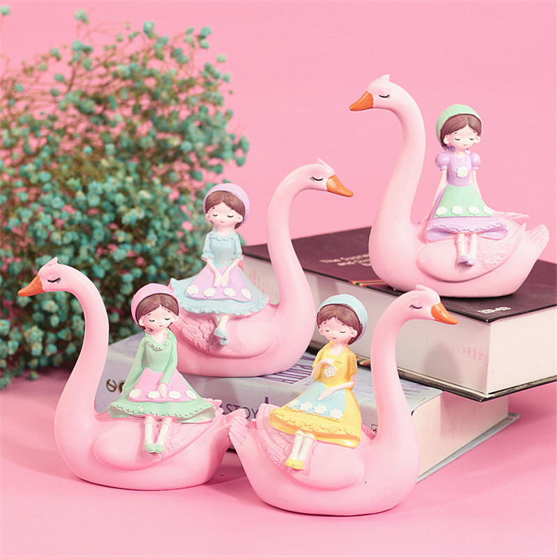 Lovely Pink Swan Girl Ornament Resin Craft Home Decoration Furnishings Cake Baking Decor Ornament Brithday Gift