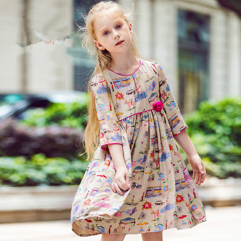 Flower Girl Dresses Robe Enfant 2017 Brand Autumn Baby Girls Clothes Princess Dress Kids Cotton Children Dress 3-12Y