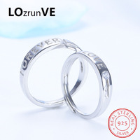 LOZRUNVE Original 2018 New Creativity S925 Couple Jewelry Letter Sterling Silver Anniversary Wedding Finger Rings Wholesale