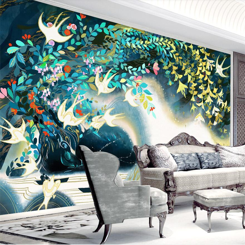 Beibehang Nordic minimalist hand painted illustration watercolor style TV background wall paper custom large mural wallpaper