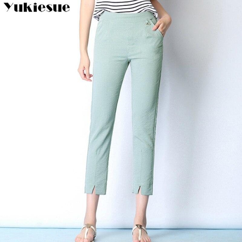 summer 2019 womens harem   pants   female high waist ladies cotton linen work   pants     capri   for women trousers woman Plus size 5xl