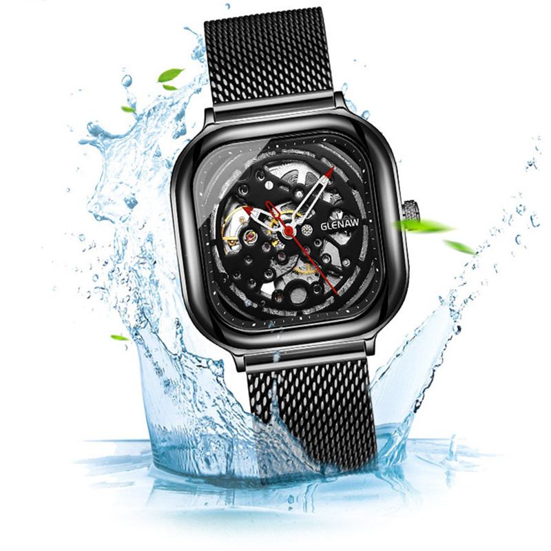 GLENAW 2019 Fashion Mechanical Watch Men Watches Top Brand Luxury Square Male Clock Business Mens Wrist Watch Waterproof RelogioGLENAW 2019 Fashion Mechanical Watch Men Watches Top Brand Luxury Square Male Clock Business Mens Wrist Watch Waterproof Relogio
