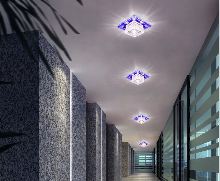 5W Modern Led Square Crystal Lamp Recessed Aisle Corridor Lights Ceiling Down Entrance Lights Living Room Spotlights luminarias