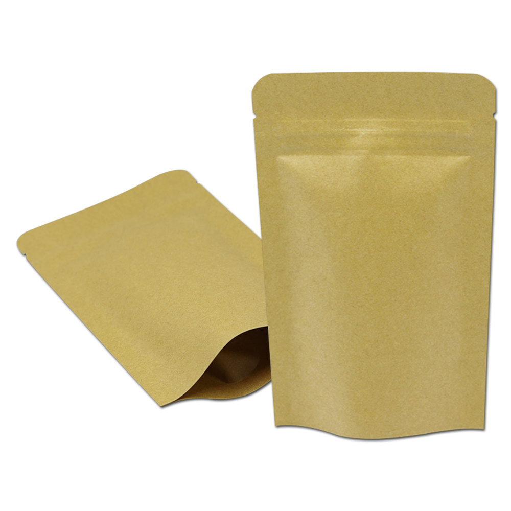 DHL Brown Kraft Paper Zip Lock Bag Aluminum Foil Inside Stand Up Zipper Resealable Food Coffee Tea Pack Stprage Pouch Doypack