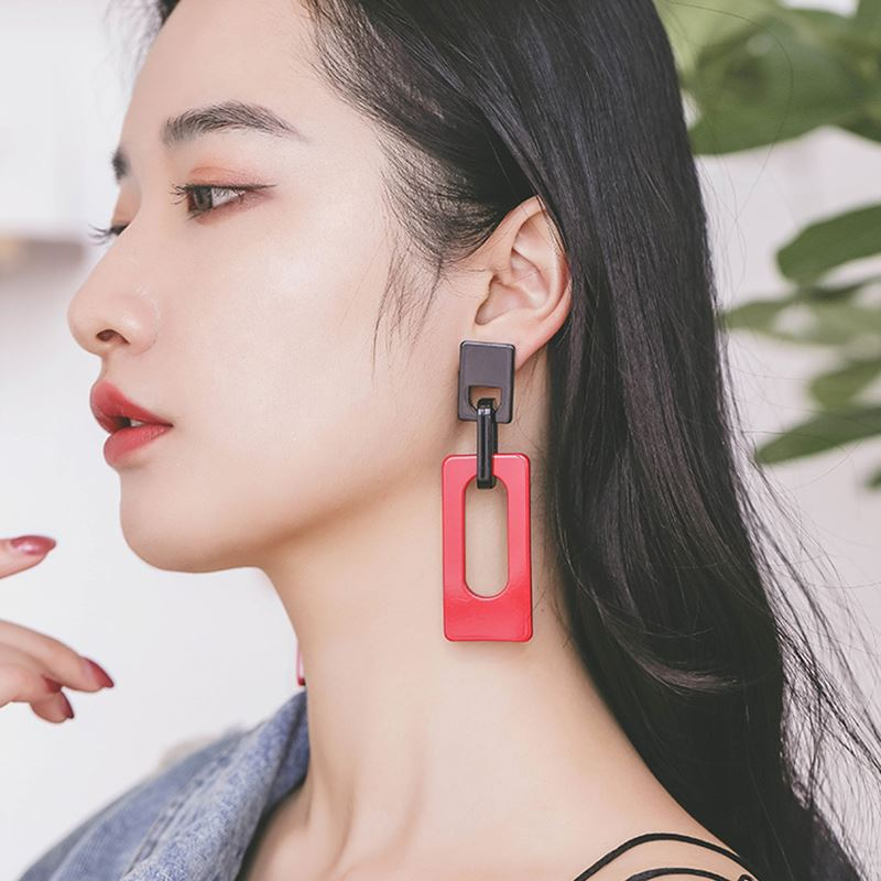 Sale geometric acrylic earrings for women red black buckle retro girls big drop earrings gifts in Drop Earrings from Jewelry Accessories