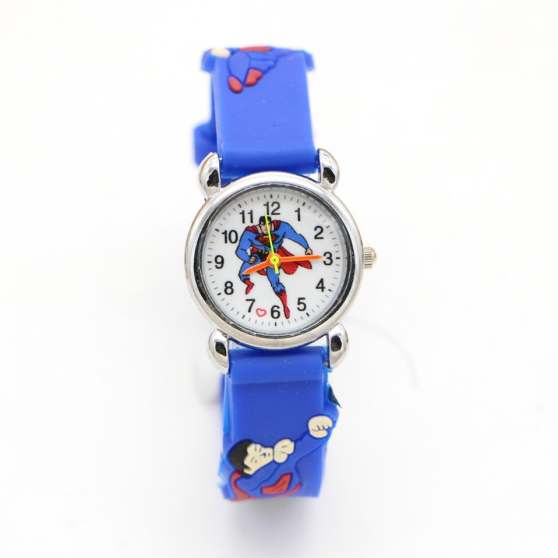 New Arrival 3D Cartoon Superman Super Man Kids Watch Children Boys Students Gift Quartz Wristwatches Relojes Montres Kol Saati