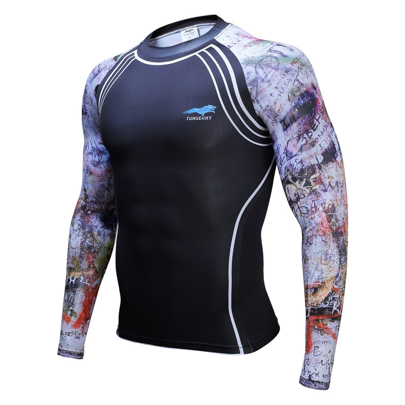 Muscle Men Compression Tight Skin Shirt Long Sleeves 3D Prints TUNSECHY brand Fitness Base Layer font