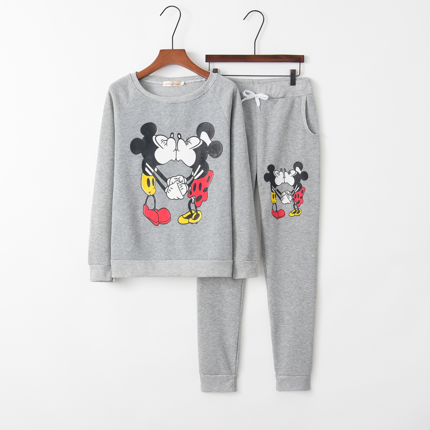 2018 Mickey Women's Tracksuit For Women 2pieces Set Suit Kawaii Style Brand Sweatshirt+Pants