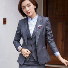 2017 Autumn Women Slim Fit Blazer Jackets Notched Office Work Blaser Outfits Coats Tops Suit Striped Spring