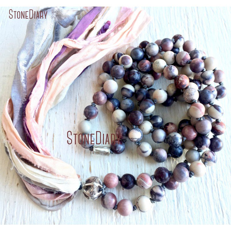 108 Matte Porcelain Jaspers Mala Beads Necklace Healing Meditation Prayer <font><b>Silk</b></font> <font><b>Sari</b></font> <font><b>Tassel</b></font> Yoga Stress Relief Necklace NM11098 image