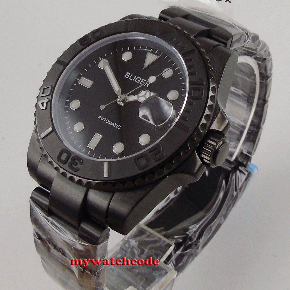 цена 40mm Bliger black dial PVD case brushed ceramic bezel date sapphire crystal automatic mens watch онлайн в 2017 году
