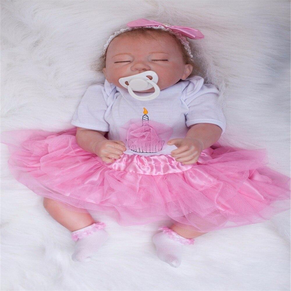 SanyDoll 20 inch 50 cm Silicone baby reborn dolls, lifelike doll reborn Pink Princess Dress sleeping doll birthday gift