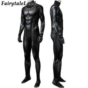 Image 3 - 3D Printing Black Panther Jumpsuit adult Men Carnival Halloween costume Black Panther Cosplay costume Superhero Spandex jumpsuit