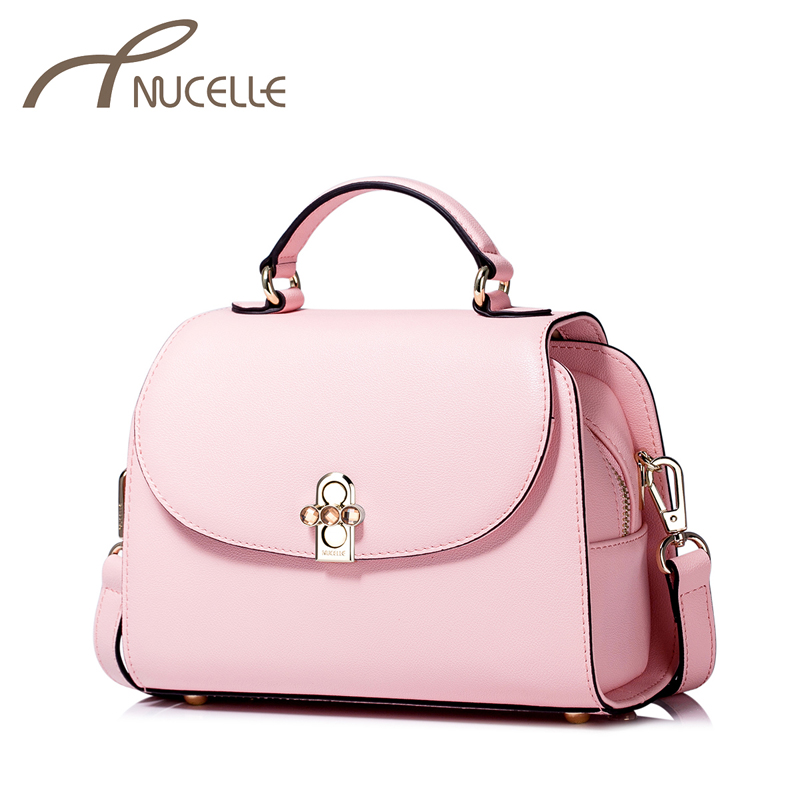 ФОТО Nucelle Women Split leather Handbag Ladies Fashion Brief Lock Tote Messenger Bags Female Brief Shoulder Corssbody Bags NZ5832