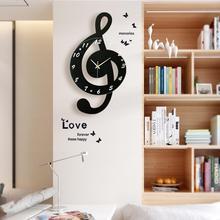 新しい3D gクレフ音符壁時計現代のミニマリストの壁時計クォーツムーブメントリビングルームのための人格装飾壁時計