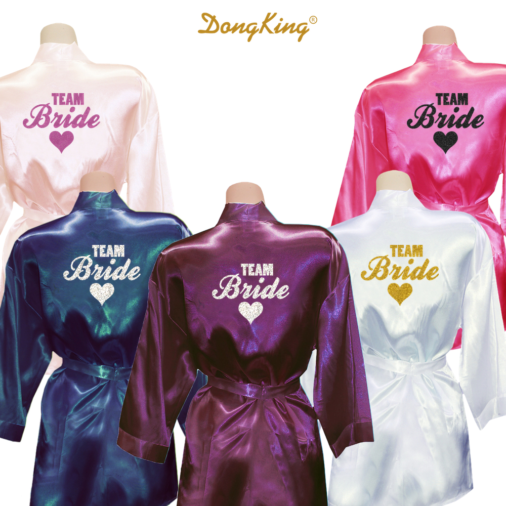 bright n colour best wholesaler fair price US $15.0 |DongKing TEAM BRIDE Robes Team Bride Heart Golden Glitter Print  Kimono Robes Satin Bridal Party Robe Bride Team Wedding Gift-in Robes from  ...