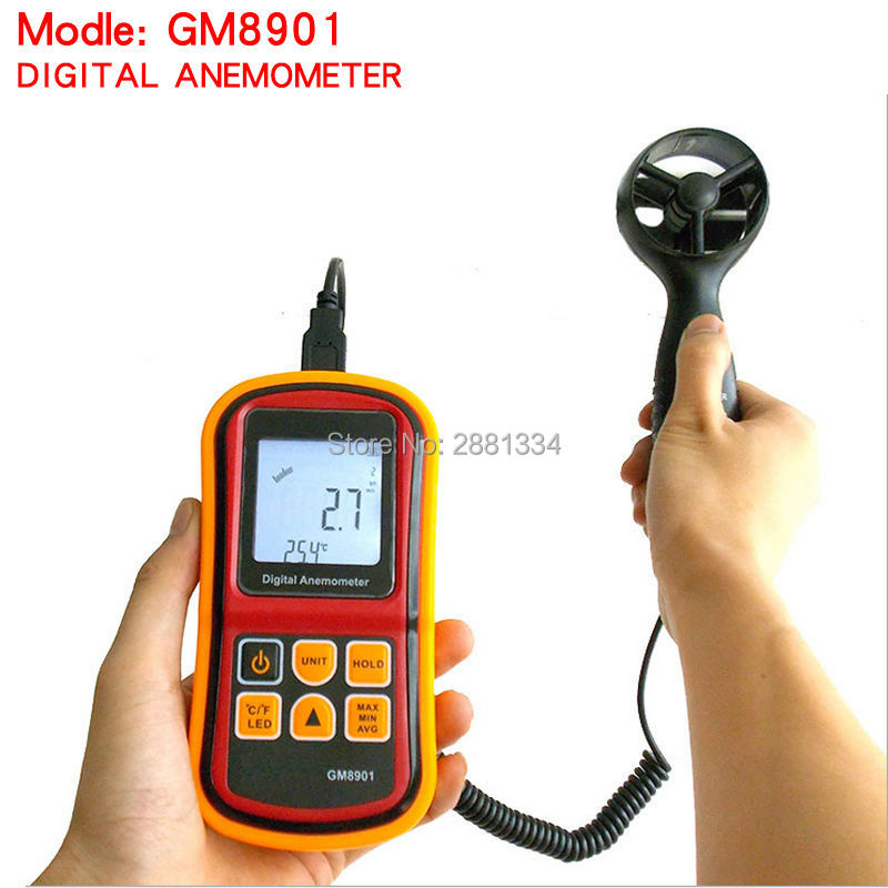 GM8901 Anemometer 45ms (88MPH) LCD Digital Thermometer Electronic Hand-held Wind Speed Gauge Meter free shipping gm8901 45m s 88mph lcd digital hand held wind speed gauge meter measure anemometer thermometer