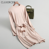 Long Sleeve O neck With Sashes Sweater Dress Women Korea Casual Autumn Winter High Waist Pink Knitted Dress Vestidos