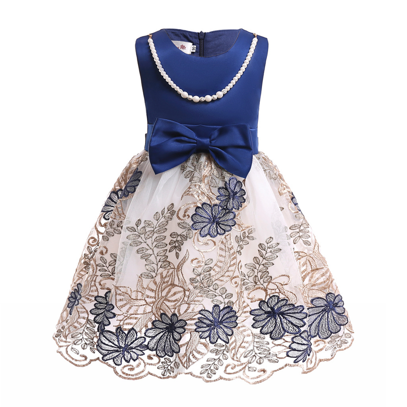 Girls Wedding Bow Birthday Princess Party Dress Kids Baby Pearls Dress Baby Girl Sleeveless Tutu Mesh Dress Children Clothing(China)