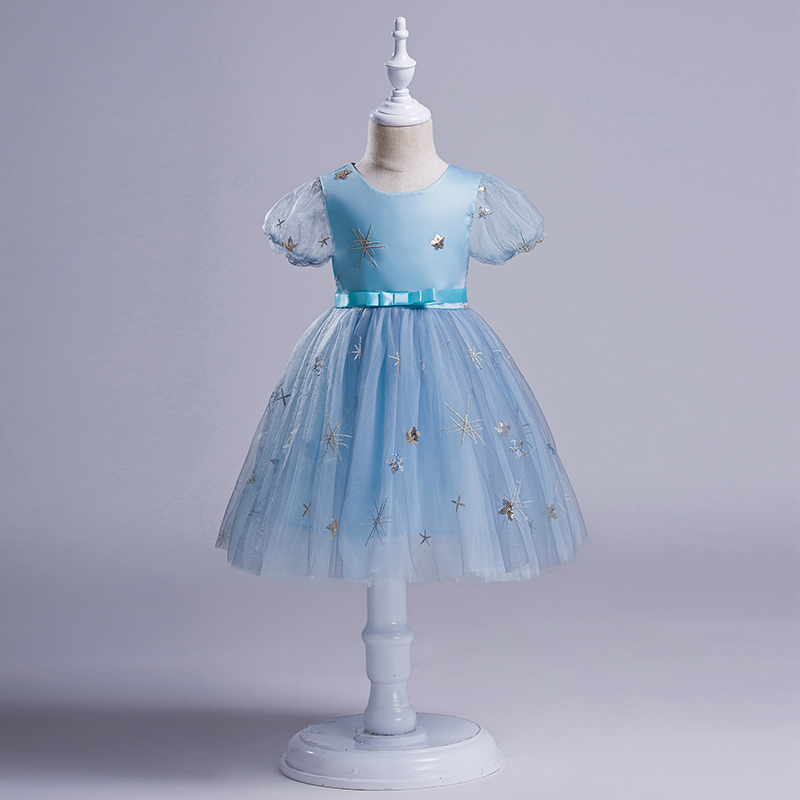 BRWCF Girls Princess Dress Baby Lace Cotton Lining Vestido Puff Sleeve Snowflake Patch Ball Gown Dresses Party Clothing 3T-10T вечернее платье mermaid dress vestido noiva 2015 w006 elie saab evening dress