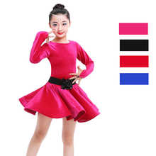 Back to School Girls Kids Salsa Latin Dance Dress Black Red Tango Samba Ballroom Skirt Children Practice Wear
