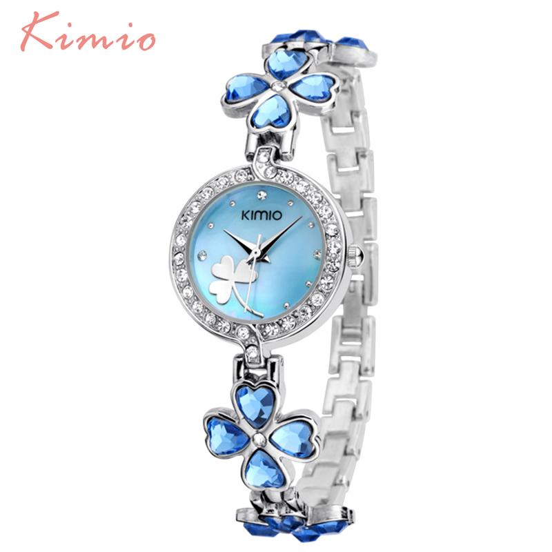 Prix pour KIMIO Dames Chanceux Trèfle Amour Bracelet En Cristal Autrichien Forage Femmes Montres 2016 Marque De Luxe Montres À Quartz Femme Robe Horloge