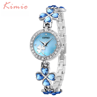 KIMIO Ladies Lucky Clover Love Crystal Strap Austrian Drilling Women Watches 2016 Luxury Brand Quartz Watches