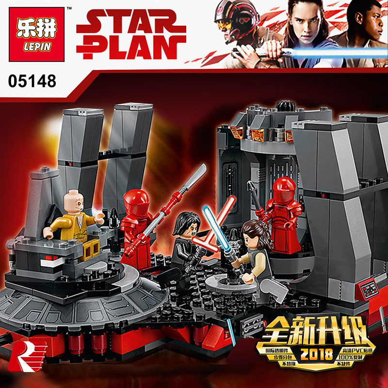 Lepin 05148 Star Wars Series Snoke's Throne Room Compatible Legoing 75216 Blocks Bricks Building Educational Toys Model Gifts new 1685pcs lepin 05036 1685pcs star series tie building fighter educational blocks bricks toys compatible with 75095 wars
