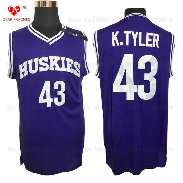 2ac25c754e4 Wholesale Mens K.Tyler  43 Jersey Huskies The 6th Marlon Wayans Kenny Tyler  Basketball Movie Jerseys Purple Color for Men