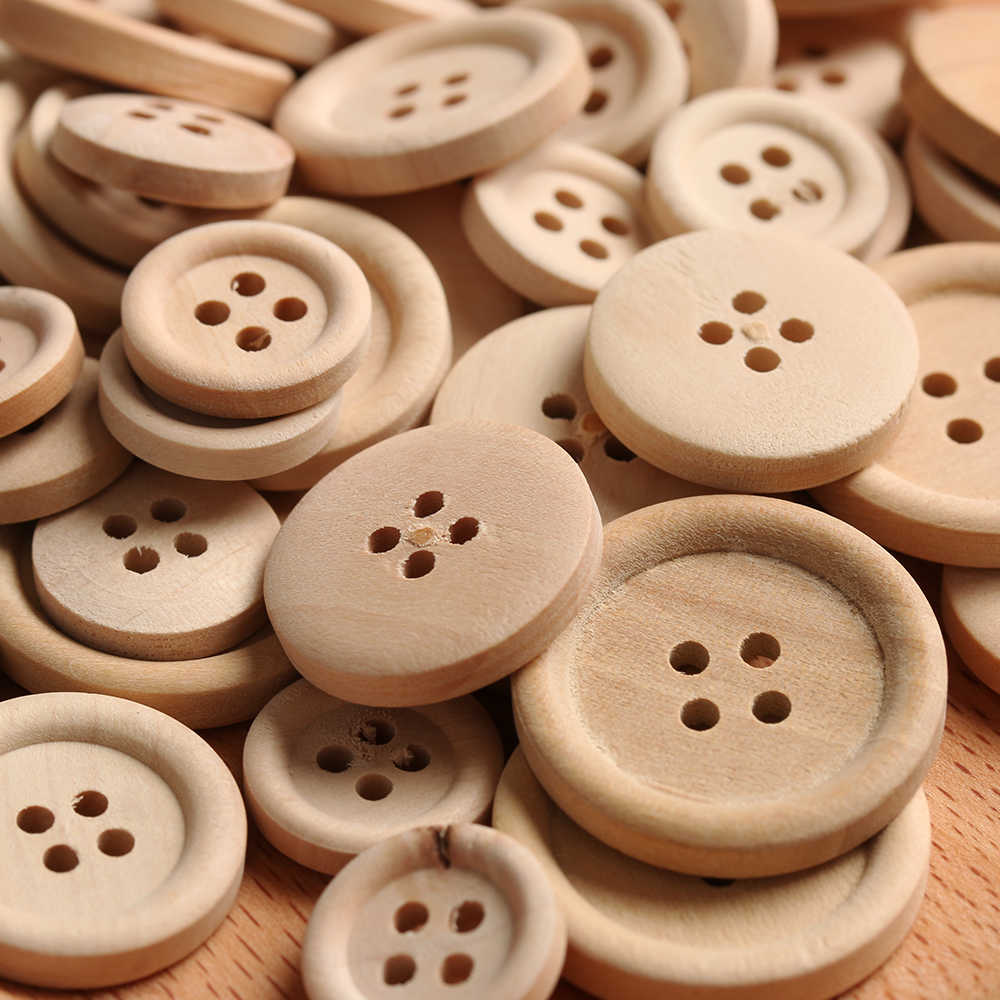 Hot 50 Pcs/Set Mixed Wooden Buttons Natural Color Round 4-Holes Sewing Scrapbooking DIY Buttons Sewing Accessories