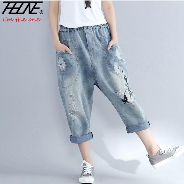 Thhone Plus size Vaqueros mujeres Pantalones harem elástico cintura casual  Pantalones bordado rasgado lavado Denim Pantalones 86901af57971