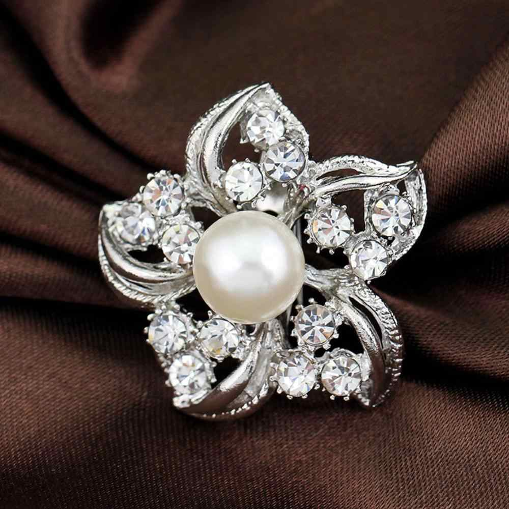 Fashion Aksesoris Anggun Bunga Berlian Imitasi Bentuk Bros Gaun Dekorasi Perak Kerah Pin Hadiah
