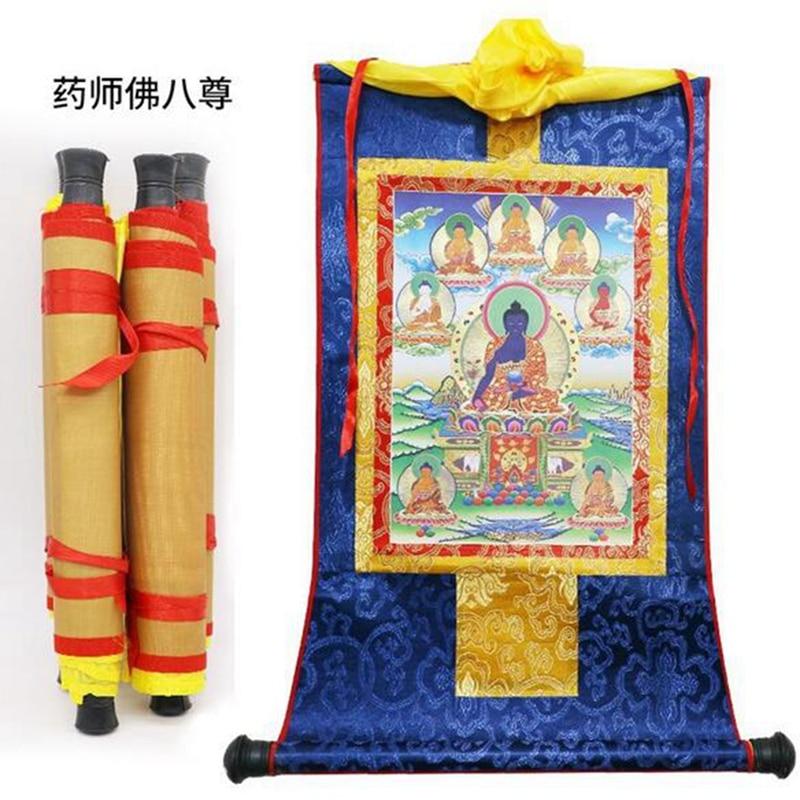 1pcs Tibetan Thangka Eight Medicine Buddha Statues Wood Scroll Printing 13