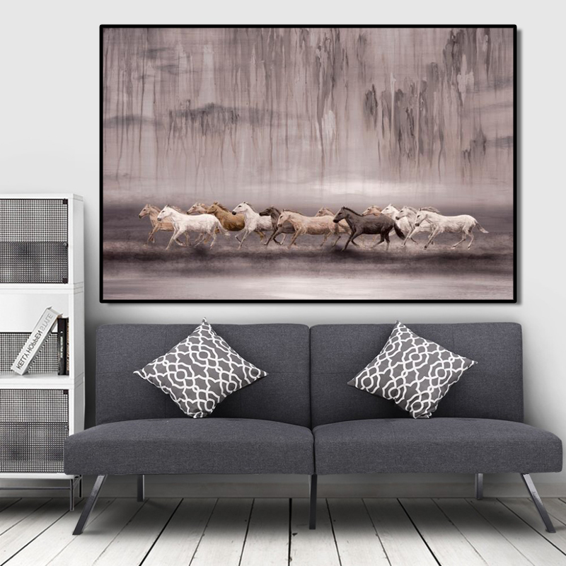 Abstract Animals Oil Painting Posters and Prints Wall Art Canvas Pianting Running Horses Pictures for Living Room Decor No Frame in Painting Calligraphy from Home Garden