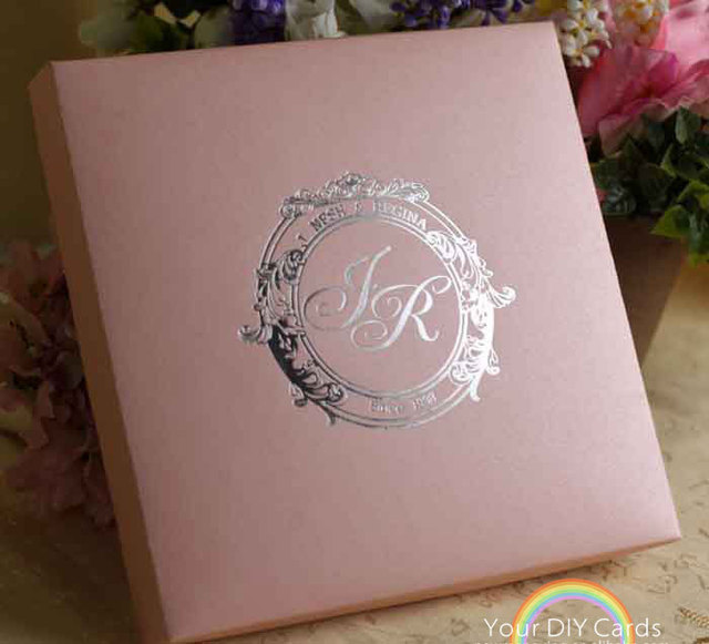Silk Folio Box Wedding Invitation Card With Mailing