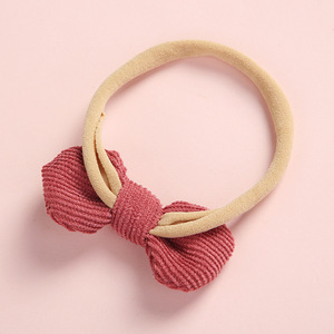 Image 2 - 20 pcs/lot, Soft Corduroy Knot Bow Nylon Headbands or hair clips, baby shower gift
