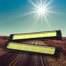 цена на Car styling 2Pcs Super Bright Flexible Waterproof COB LED DRL Daytime Running Lights Straight Driving Fog Light White 190x35mm
