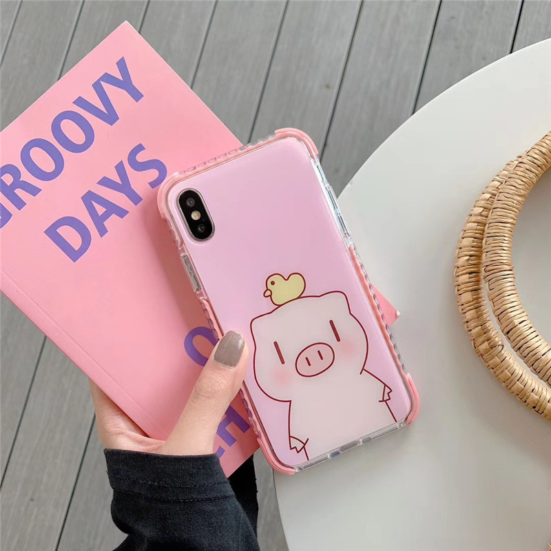 Pink Pig Cartoon Series Mobile Phone Case For Iphone8 7 6S Plus TPU Material Back Cover For Iphone XSMAX XR X XS Cases Capa in Fitted Cases from Cellphones Telecommunications