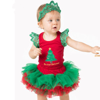 2016 Christmas Baby Girls Clothes Set Cotton First Birthday Costumes Birthday Romper+Tutu Skirt +Headband Newborn Infant Outfit