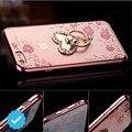 Для iphone7 Роскошные Bling Crystal Diamond Flower Metal Heart Кольцо Держатель Мягкие TPU Крышка Случая Стойки для apple, Samsung
