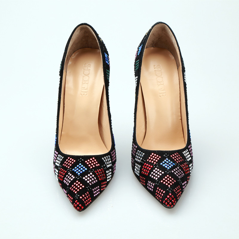 New Luxury Colorful rhinestone high heels women black shoes slip on super high heel pumps 12 cm stilettos party prom shoes woman