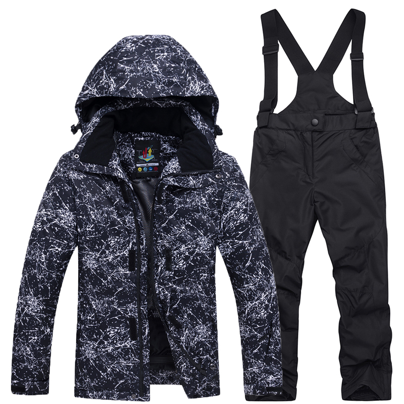 Boy And Girl Children's Snow Suit Sets Snowboarding Clothing Windproof Waterproof Outdoor Clothing Kids Ski Jacket + Strap Pant