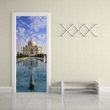 Wall decorations India Taj Mahal 3d vinyl stickers smooth door styling self-adhesive mural home living room scenery wallpaper