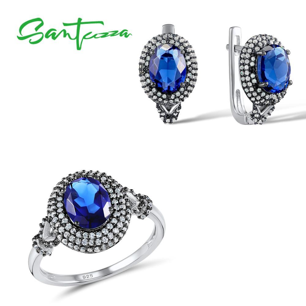 Santuzza เงินเครื่องประดับชุดเจ้าสาวงานแต่งงานชุดเครื่องประดับ Blue CZ Stones แหวนต่างหูจี้ชุด 925 เงินสเตอร์ลิงชุดเครื่องประดับ-ใน ชุดอัญมณี จาก อัญมณีและเครื่องประดับ บน   1