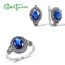 Santuzza srebrny zestaw biżuterii ślubnej zestaw biżuterii ślubnej niebieski cz kamienie pierścień kolczyki zestaw wisiorków 925 srebrny zestaw biżuterii tanie tanio SILVER Kobiety Cyrkonia TRENDY 1pc Ring+ 1pair Earrings Kolczyki pierścień Moda Jewelry Sets Zestawy biżuterii Party