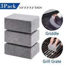 3 uds barbacoa piedra para limpieza antideslizante Grill de mano limpiador rápido ladrillo barbacoa raspador plancha removedor de manchas cepillo