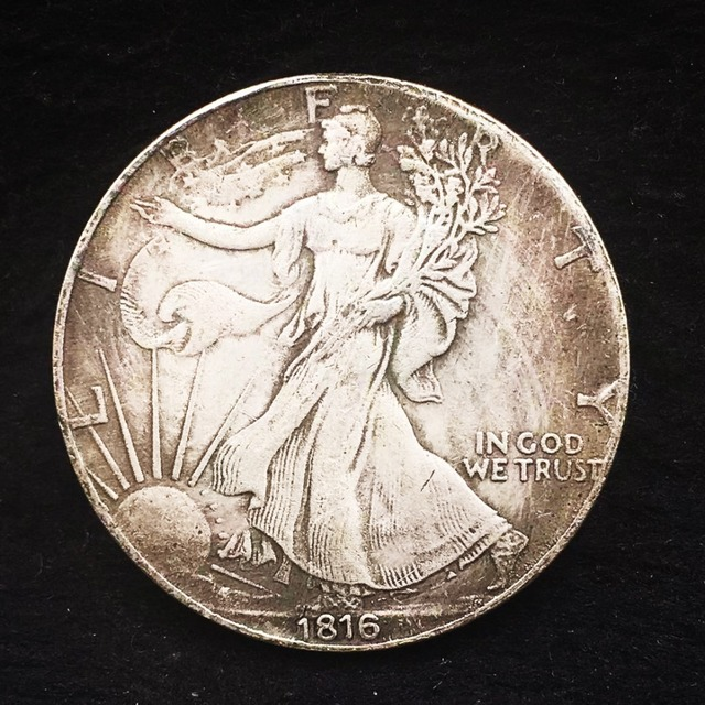 1816 monedas de cobre antiguas EE. UU. Copia antigua réplica de moneda coleccionable caminar libertad plata comercio dólar arte regalo